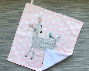 Fawn Lovey | Security Blanket | Minky Cuddle Blankie | Fawn and Polka Dots