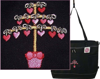 Stick Tree of Hearts Valentine's Day Gemline Select Tote Bag Love Custom Embroidered + Free Name
