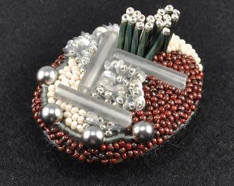 circle beads brooch, statement brooch, red and gray brooch, sparkly brooch, embroidered brooch, art brooch, oval brooch, cool brooch No.2