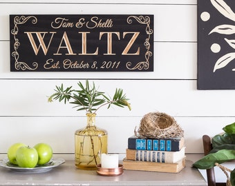 Last Name Sign, Wood Anniversary Gift, Fifth Anniversary, Gift for Bride, Wedding Gift, Gift for Couple, Bridal Shower Gift, 9x23