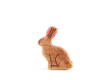 rabbit wooden toy, waldorf rabbit toy, rabbit figurine, bunny wooden toy
