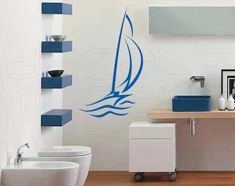 Wall decals ABSTRACT SAILBOAT large wall art stickers by Decals Murals 28x48