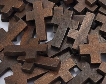 Dark Brown Natural Wood Cross Charms Pendants,Unfinished Wood Cross,Wood Cross wood bead,Wood Cross Finding,33x21x4.5mm