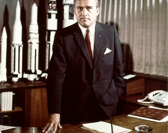 Dr. Wernher Von Braun at His Desk at the Marshall Space Flight Center in Huntsville, Alabama - 5X7, 8X10 or 11X14 NASA Photo (EP-542)