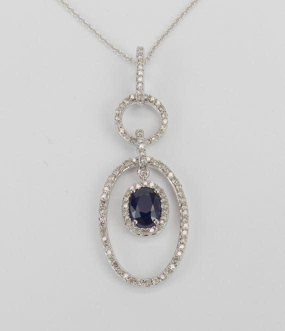 """14K White Gold Diamond and Sapphire Halo Pendant Necklace Chain 18"""" September Birthstone"""
