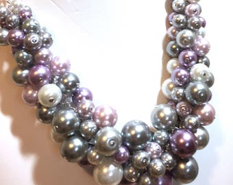 "Pearl Cluster Necklace ""Elegance"" - Violet, Gray and Silver- Chunky, Choker, Bib, Necklace, Wedding, Bridesmaid, Prom, SRAJD, Custom"