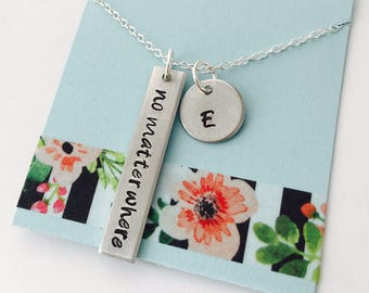 No Matter Where Necklace, Best Friends Necklace, Friends Jewelry, Long Distance Necklace, Moving Away