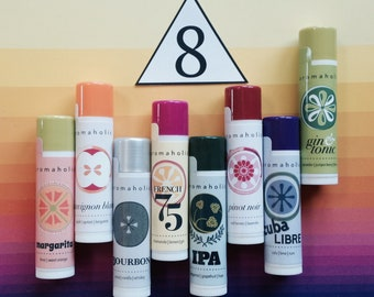 Any 8 cocktail-flavored lip balms from Aromaholic - craft beer balms - Cabernet lip balm, Moscow Mule lip balm and more - you pick flavors