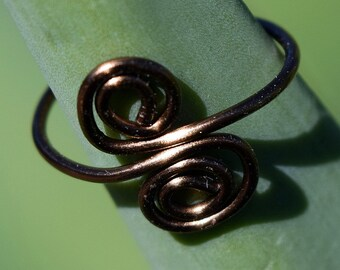 Antique Brass Ring, Double Spiral Wire Ring,Customizable, Jewelry, Wire Ring, Adjustable