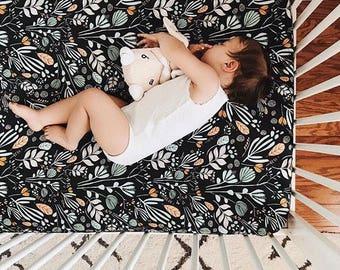 Girls Crib Bedding - Boho Baby Bedding / Boho Changing Pad Covers / Fitted Crib Sheet /Floral Nursery Baby Bedding /Mini Crib Sheets