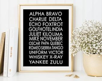 NATO Phonetic Alphabet Pilot Gift Print, Aviation Art, Aviation Decor, Printable Art, Boys Room Decor, Phonetic Alphabet Poster