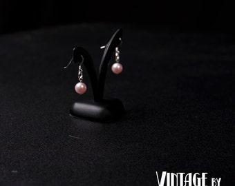 Vintage inspired Swarovski pearl earrings in Rosaline pink