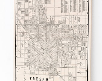Wood Print Map, Fresno California, Art