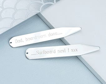 Personalised Silver Collar Stiffeners, Personalised Collar Stays, Bespoke Gift for Men, Engraved collar stiffeners, Father's Day Gift