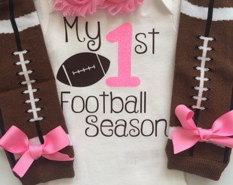 Baby Girl outfit -My 1st Football Season- baby girl outfit - football legwarmers - Newborn Football outfit - Preemie-24 month