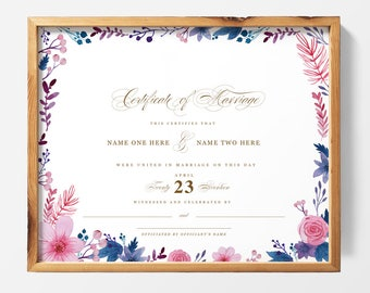 PRINTABLE | Watercolor Custom Marriage Certificate, Wedding Certificate, Quaker Marriage Certificate, Wedding Keepsake