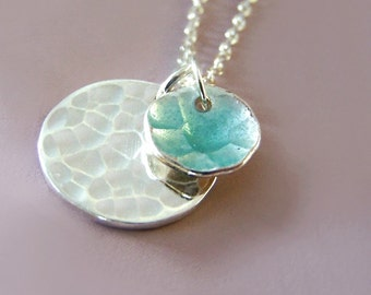Blue Enamel Necklace Transparent Blue Enamel Two Hand Hammered Disc Charm Pendants Pool
