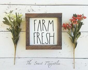 Farm Fresh Sign, Wooden Farmhouse Sign, Small Framed Sign, Farm Fresh, Rustic Home Decor, Wooden Framed Sign, Vinyl, Small sign, Farm Sign