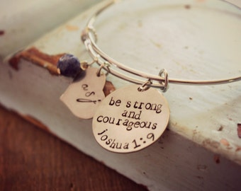"Graduation |Bible Verse Bracelet, Bible Verse Jewelry, ""Be Strong and Courageous"", Joshua 1:9, Christian Adjustable Bangle,"