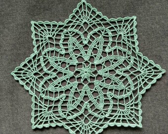 "New Handmade Crocheted ""Petite Fans"" Doily in Spruce Green - 11"""