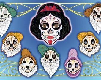 Snow White & the 7 Dwarfs Sugar Skull 11x17 print