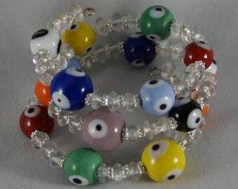 Multi-Colored Evil Eye Bracelet, Triple Wrap Bracelet, Triple Stacked Bracelet