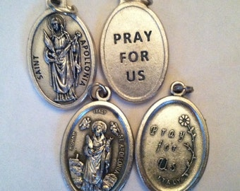 St. Apollonia silver oxide holy medal