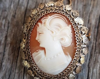 Beautiful Vintage Shell Cameo Brooch Pendant , Carved Shell Cameo , 800 Silver , Gifts For Her