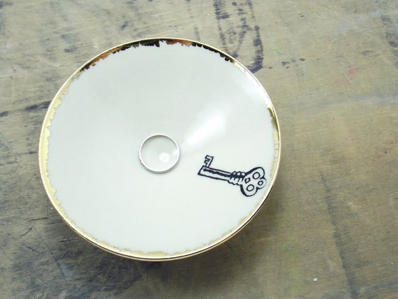 SALE White Key Porcelain Small Bowl, Jewelry Dish, Ring Dish, Dipping Bowl