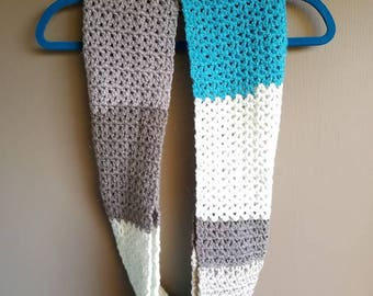 Crochet Infinity scarf -- Grey, White, and Blue