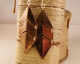 3 Part copper earrings, handmade earrings, Copper and sterling silver earrings, Organik Mechanik