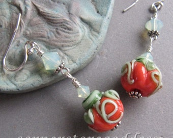 Lampwork Thanksgiving Autumn Halloween Earrings EHAG by Cornerstoregoddess