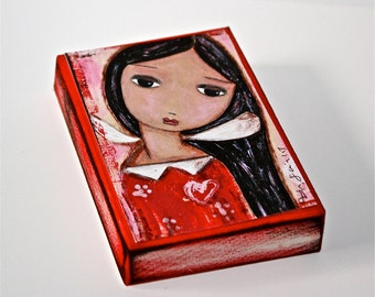 Serenity - ACEO Giclee print mounted on Wood (4 x 5 inches) Folk Art  by FLOR LARIOS