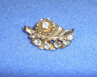 Vintage Rhinestone Leaf Flower Brooch goldtone vintage pin vintage brooch