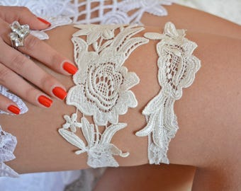 Ivory Garter Set, Lace Garter Ivory, Bridal Lingerie Ivory, Lingeri garter, Bridal Garter, Garter For Wedding, Boho Garter, Wedding Clothing