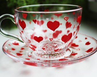 Unique Gift Cup Hand Painted Red Hearts Tea Set Glass tea cup set for her Hearts Cup and saucer St. Valentine's Day TeaCup Set tea cups