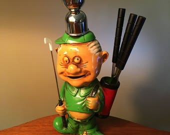 """1970s """"Golfer Bar Set"""" ceramic bank with five tools made in Japan"""