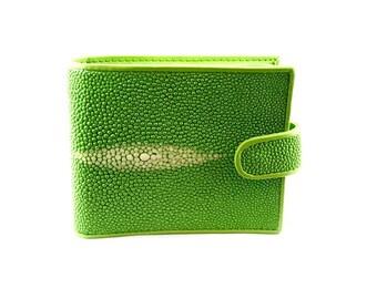 Portefeuille wally galuchat/cuir vert fluo