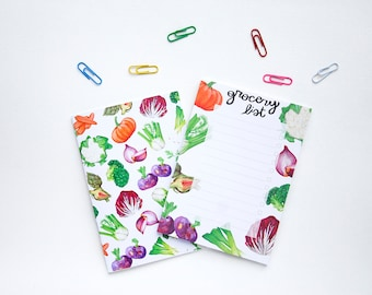 Veggies Notebook + Grocery List Notepad SET | Food Illustration | Illustrated Stationery | Watercolor Notebook | Colorful journal | Quaderni