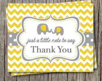 Thank You Cards Birthday Party Baby Shower Printable Thank You Cards Instant Download Yellow Grey Elephant Chevron - 010