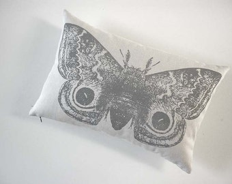 IO Moth silk screened cotton canvas throw pillow 12x18