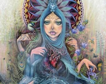 Earth Mother - nature, anatomical heart, large print, giclee, fine art print, art by phresha, spiritual art, sacred geometry, mother nature