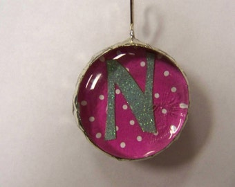Initial Jewelry Pendant Soldered Glass Blob with Initial N