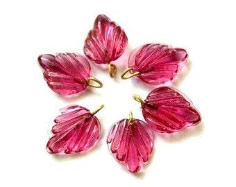 6 Vintage glass dangling beads leaf shape with self loop pink color 15mmx12mm