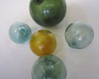Vintage Glass Fishing Floats, S/5
