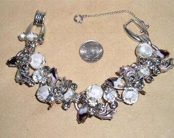 Vintage Juliana Bracelet With Art Glass Stones & Rhinestones 5 Link Prong Set 1950's Jewelry 3068