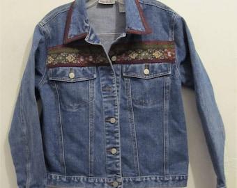 A Women's Vintage 90's,ORIENTAL Tapestry Trim Jean Jacket By BILL BLASS.M