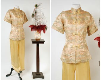 Vintage 1940s Pajamas - Spring 2018 Lookbook- Fabulous Chinese Imported Gold Brocade and Satin 40s Loungewear Set with Frog Closures