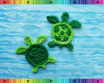 Turtle or Sea Turtle Applique - CROCHET PATTERN (PDF)