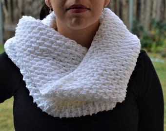 Hand knit white infinity scarf
